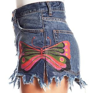 Free People Fields of Sun Painted Denim Jea Shorts
